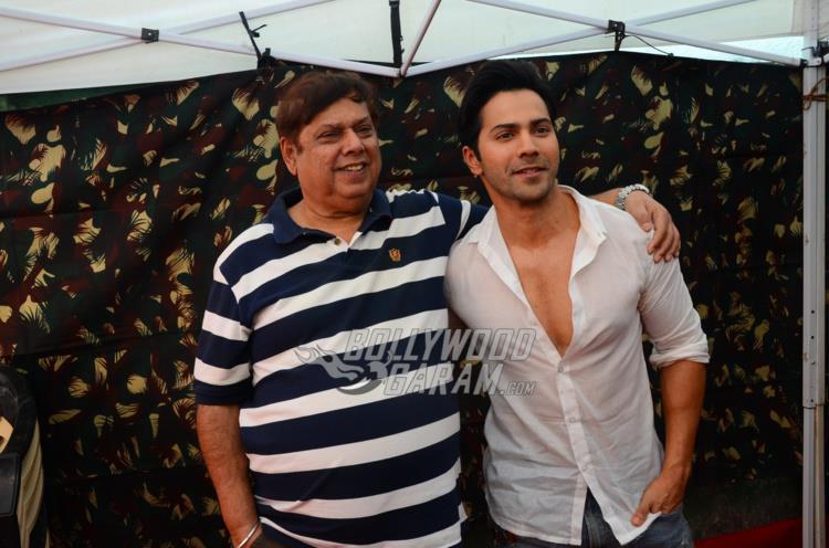 David Dhawan and Varun Dhawan pose at Judwaa 2 PC
