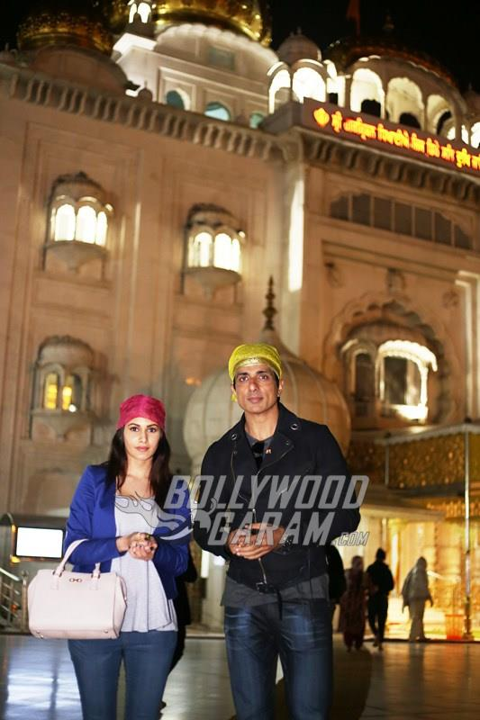 Amyra Dastur and Sonu Sood at a Gurudwara