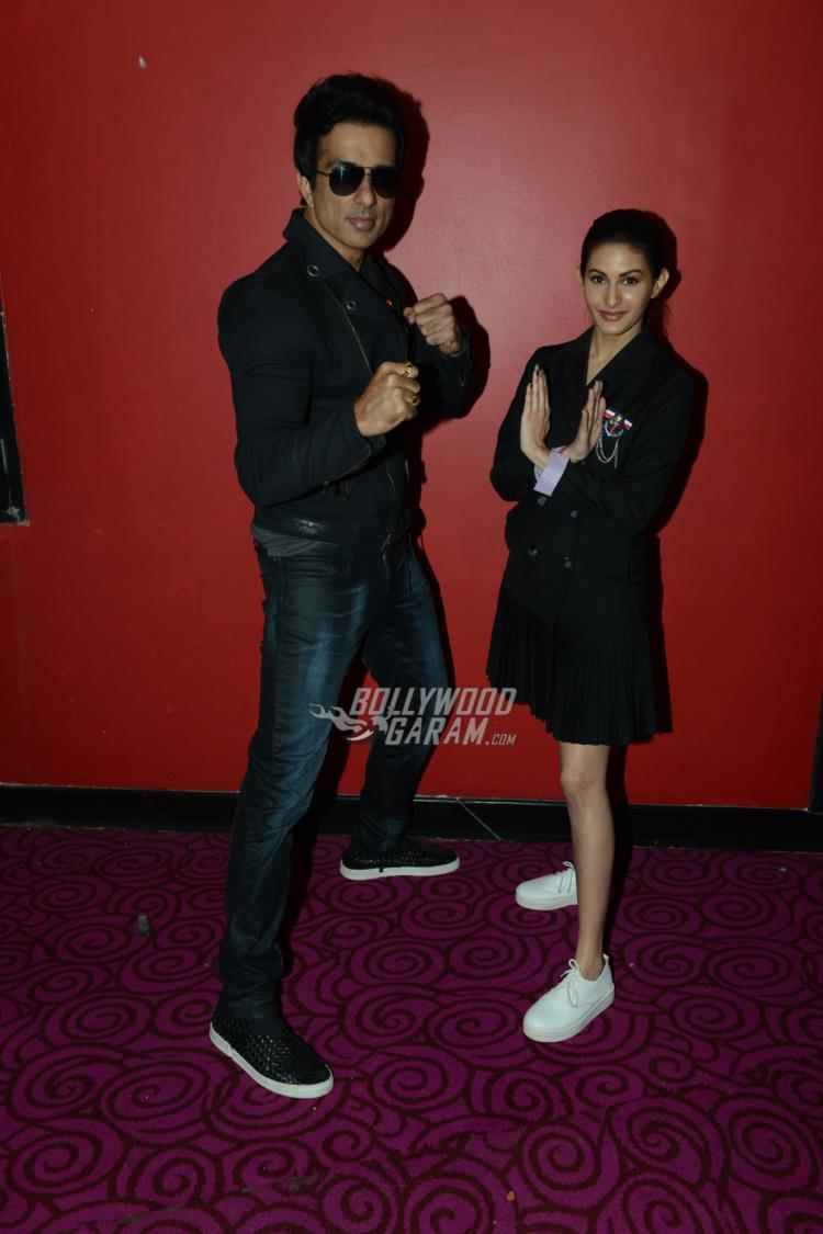 Sonu Sood and Amyra Dastur pose at Kung Fu Yoga promotions at Noida
