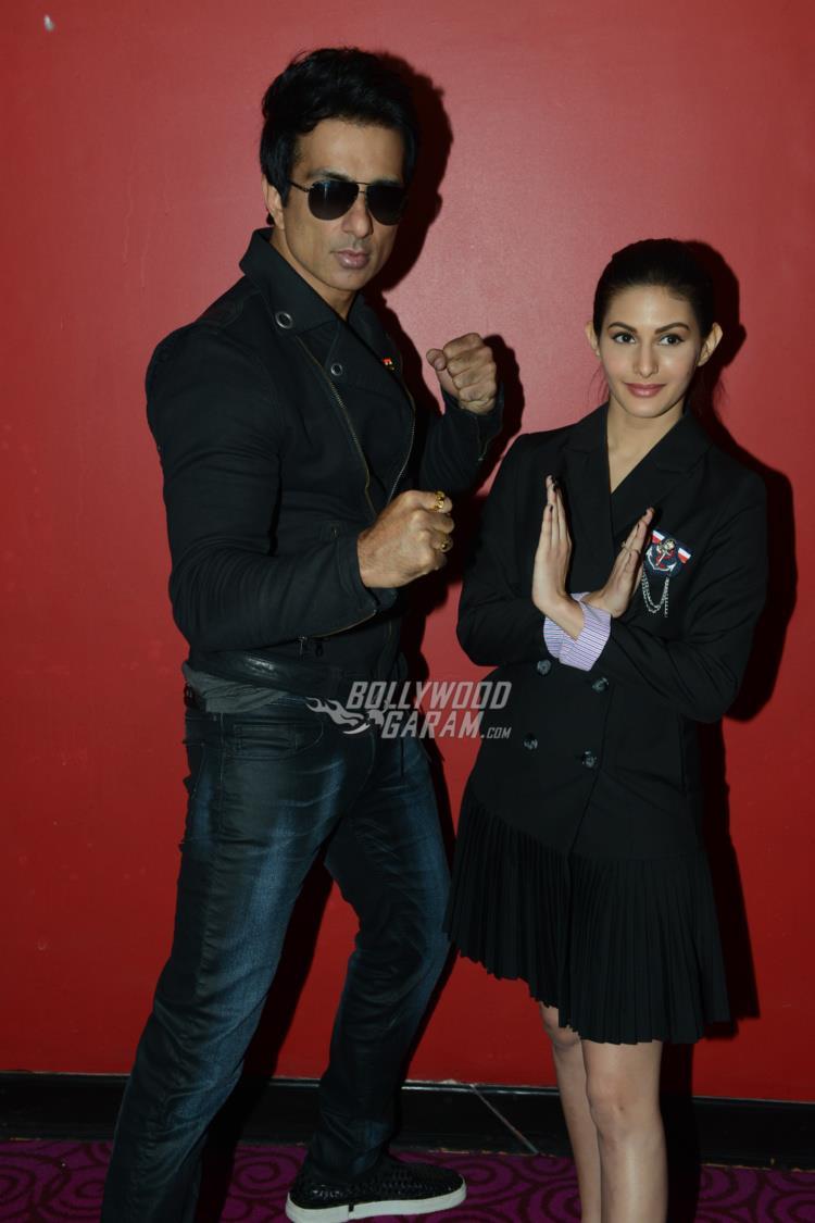 Sonu Sood and AMyra Dastur at Kung Fu Yoga promotions at Noida