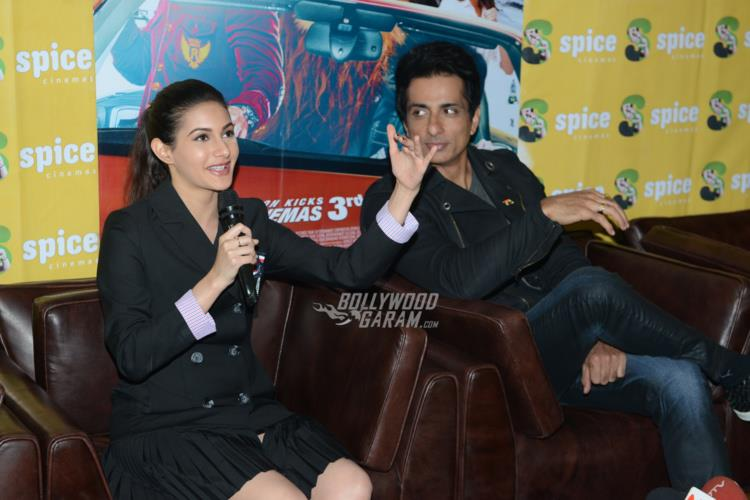 Amyra Dastur and Sonu Sood interact with Media at Kung Fu Yoga promotions at Noida