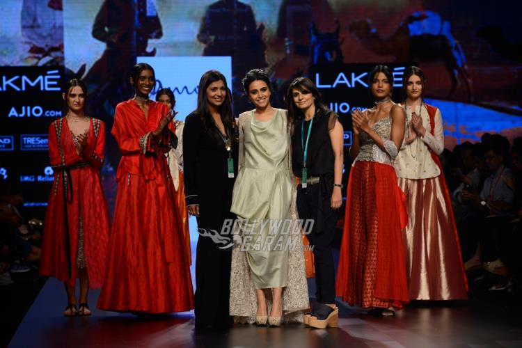 Swara Bhaskar with designers Minica Shah and Karishma Swali at Lakme Fashion Week Summer/Resort 2017