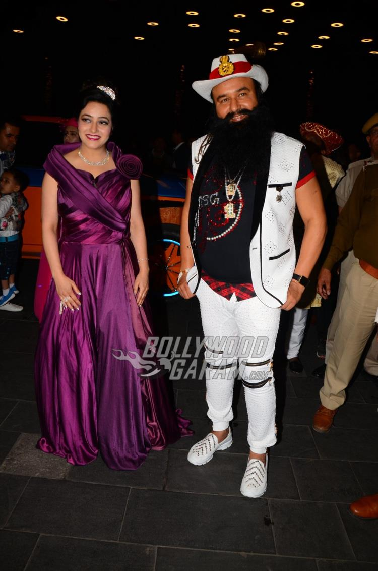 Honeypreet Insan with father Gurmeet Singh at MSG 4 premiere