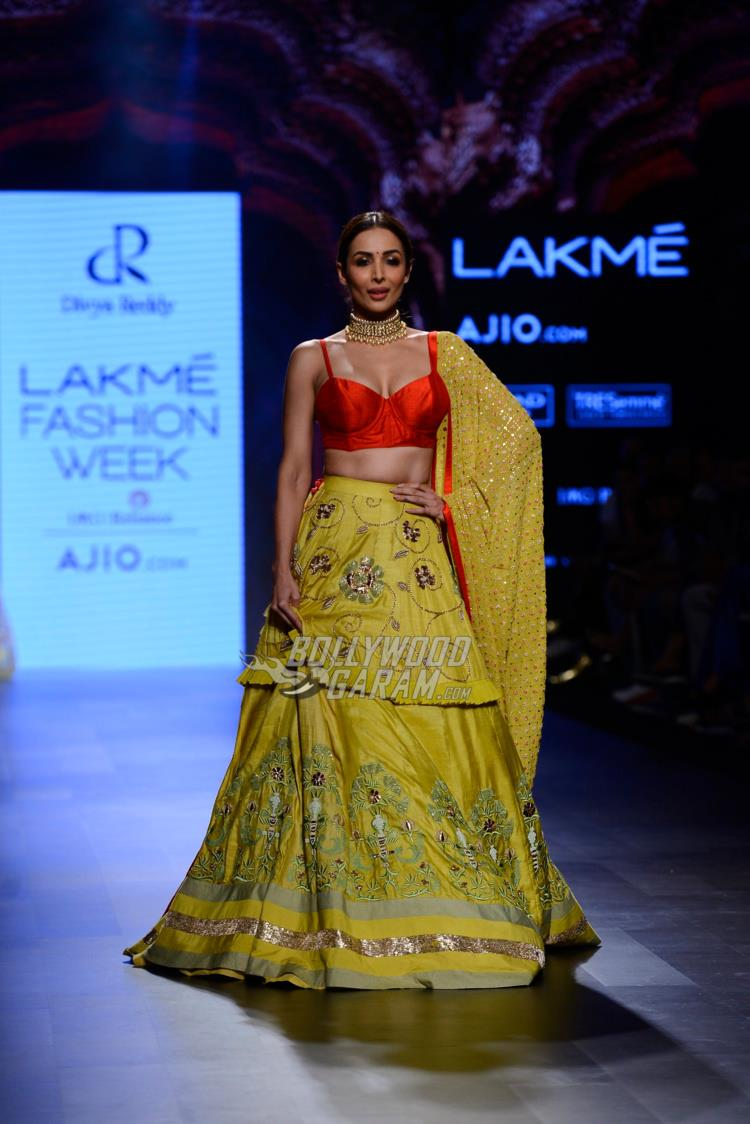 Malaika Arora walks the ramp for Divya Reddy at LFW Summer/Resort 2017