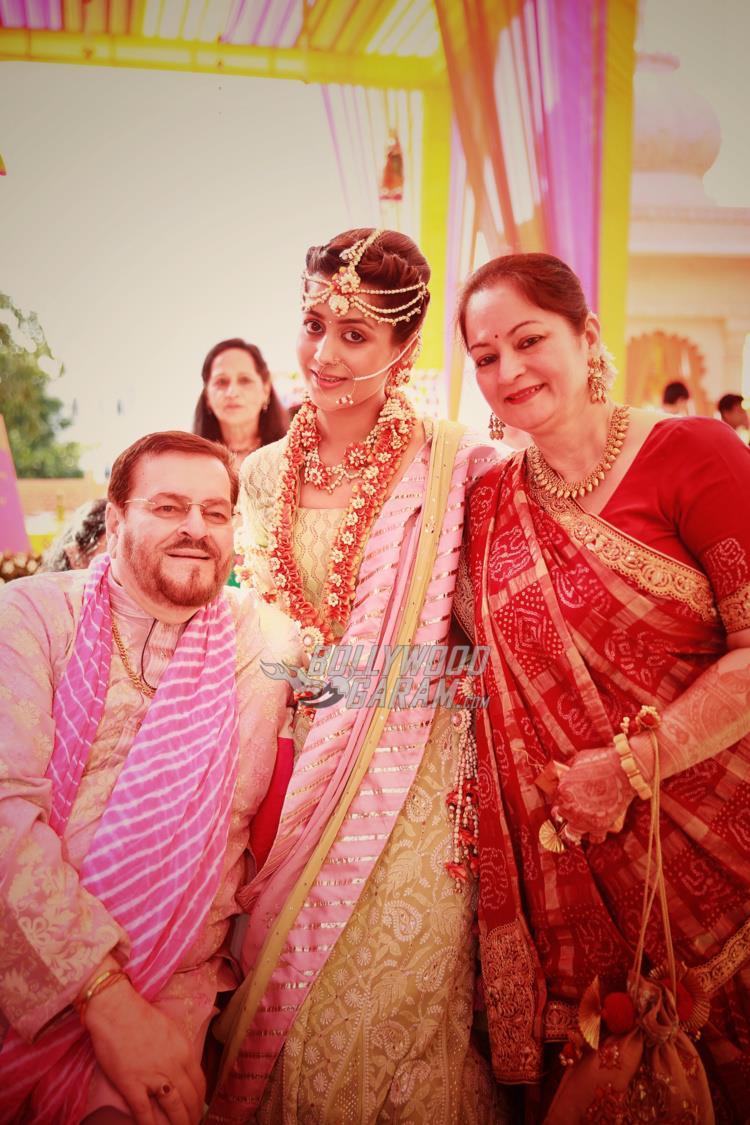 Nitin Mukesh, Rukmini Sahay and Nishi Mukesh at Neil and Rukmini's Sangeet