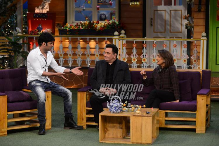 Host Kapil Sharma interacts with Rishi Kapoor and Neetu Kapoor on The Kapil Sharma Show