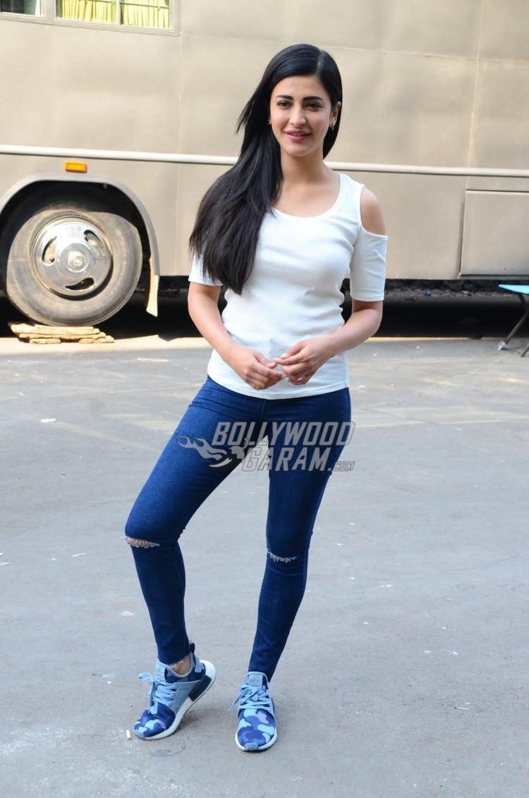 Shruti Haasan at an ad shoot location