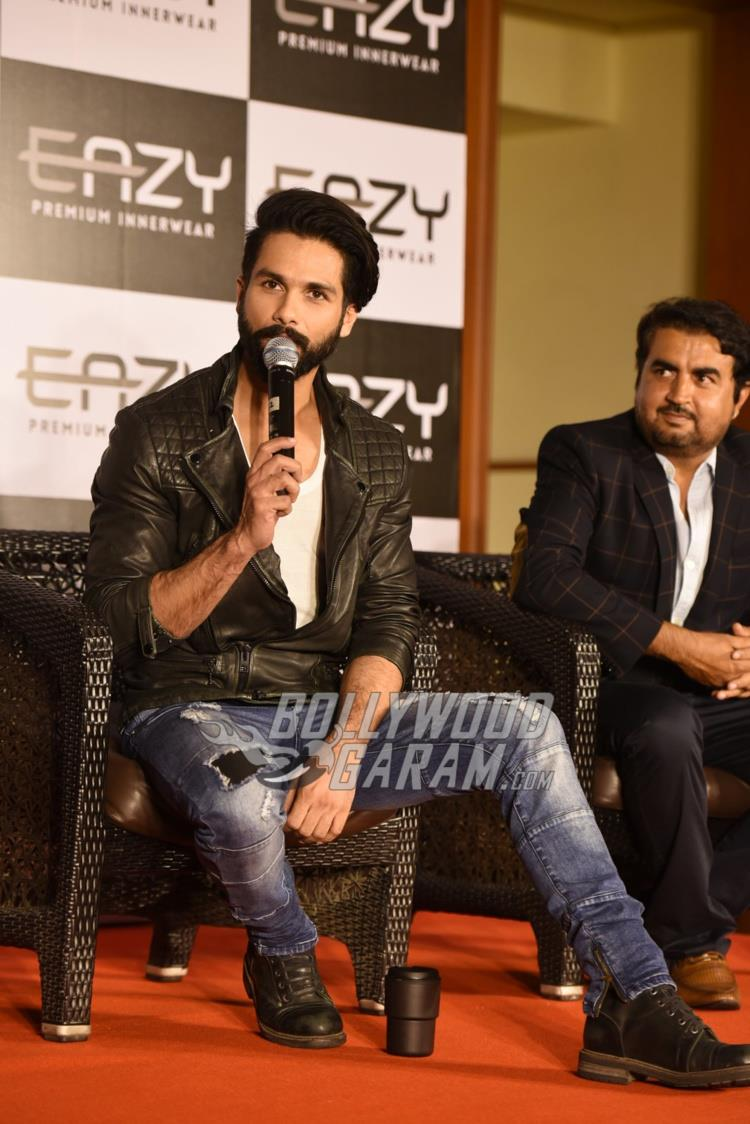 Shahid Kapoor interacts with media at inner wear brand launch event