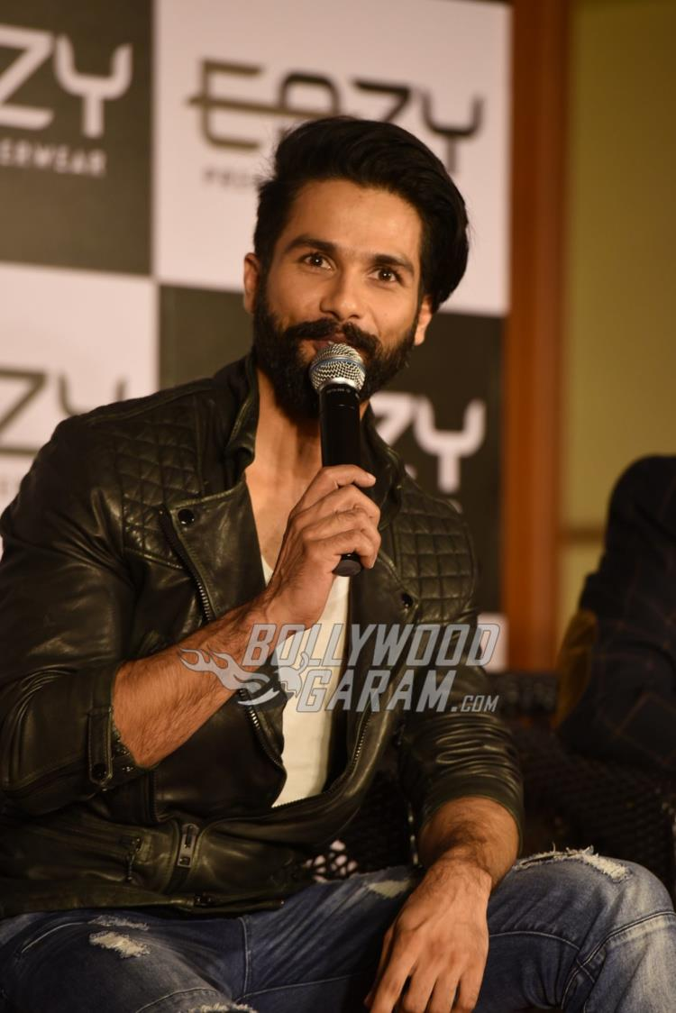 Shahid Kapoor enjoying an intteracton at inner wear brand launch event