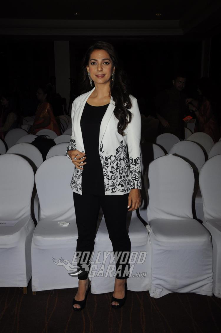 Juhi Chawla poses at Divya Dutta's book launch event