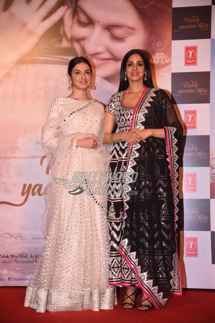 Divya Khosla and Sridevi at Kabhi Yaadon Mein song launch