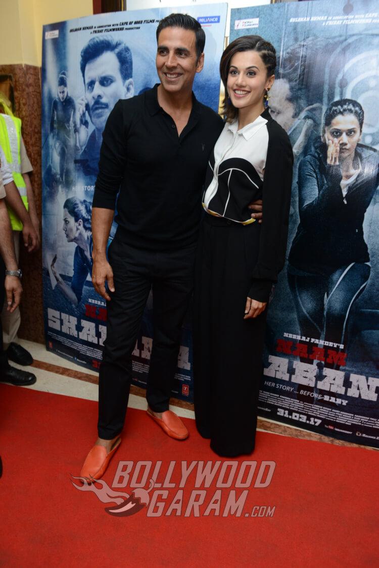 Akshay Kumar and Taapsee Pannu at Naam Shabana premiere in Delhi