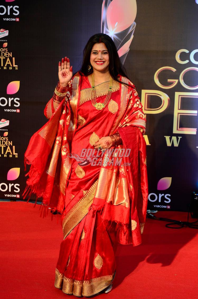 Karuna Pandey as Mata Kusum Sundari from Colors show Devanshi at the 5th Golden Petal Awards red carpet