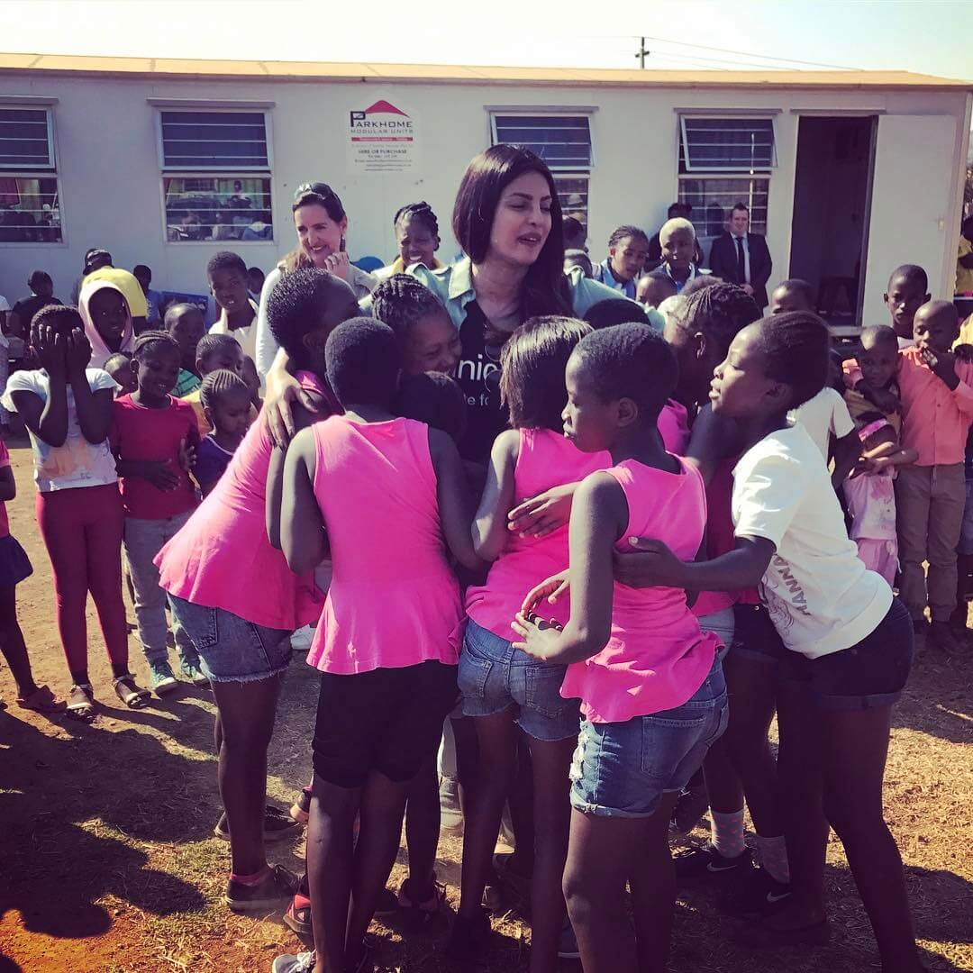 UNICEF Goodwill Ambassador Priyanka Chopra with sexual violence survivors in Zimbabwe