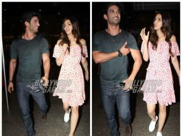 Raabta actors Sushant Singh Rajput and Kriti Sanon share a private moment at the airport!