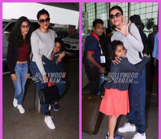 Sushmita Sen photographed with her daughters at Mumbai airport