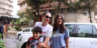 Karisma Kapoor photographed with children Samiera and Kiaan on a casual outing