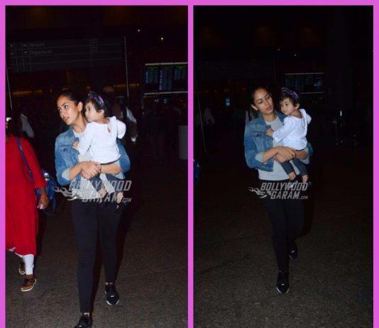 Mira Rajput photographed at airport with daughter Misha