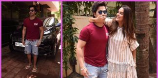 Neha Dhupia and Varun Dhawan strike funny poses post talk show