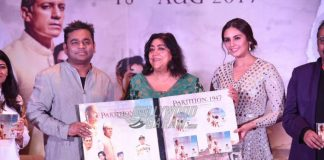 Cast and crew of Partition: 1947 launch music at a grand event