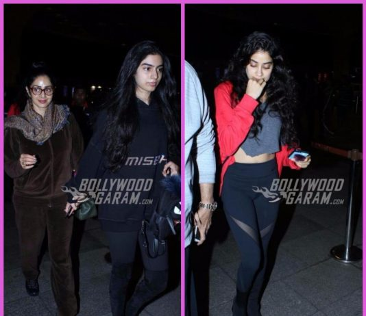 Sridevi snapped with family as they return from a holiday – Photos