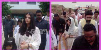 Aishwarya Rai Bachchan, Abhishek Bachchan and Aaradhya immerse ashes of Krishnaraj Rai at Allahabad