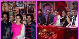 Ayushmann Khurrana, Kriti Sanon and Rajkummar Rao promote Bareilli Ki Barfi on sets of The Drama Company