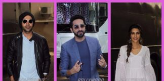 Ayushmann Khurrana, Kriti Sanon and Rajkummar Rao photographed posing at a studio in Mumbai