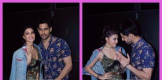 Sidharth Malhotra and Jacqueline Fernandez pose together at promotions of A Gentleman