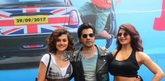 Varun Dhawan, Jacqueline Fernandez and Taapsee Pannu launch trailer of Judwaa 2