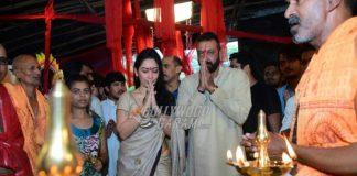Sanjay Dutt and wife Manyata offer prayers and perform Ganesh aarti in Mumbai
