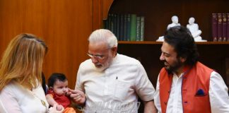 Photos: PM greets Adnan Sami, wife Roya Sami and newborn daughter Medina Sami Khan