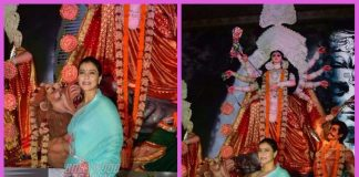 Kajol offers prayers during Durga Puja in Mumbai pandal – PHOTOS