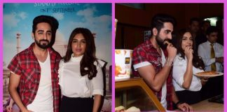 Ayushmann Khurrana and Bhumi Pednekar serve tea and biscuits to movie goers at Shubh Mangal Saavdhan promotions