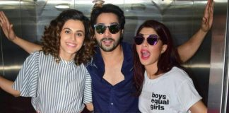 Photos: Varun Dhawan, Taapsee Pannu and Jacqueline Fernandez promote Judwaa 2 in an elevator