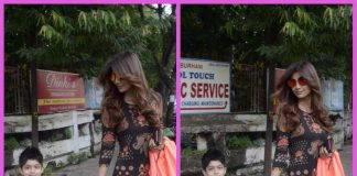 Shilpa Shetty Kundra snapped with son Viaan outside a spa in Mumbai