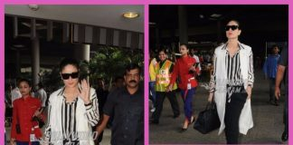 Photos: Kareena Kapoor in black and white ensemble with son Taimur at the airport