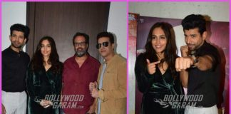 Lead actors promote Mukkabaaz at an event