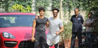 Shahid Kapoor and Ishaan Khatter pose together at gym