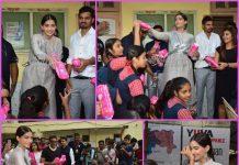 Sonam Kapoor distributes free sanitary pads for school girls while promoting Padman