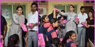 Sonam Kapoor distributes free sanitary pads for school girls while promoting Padman