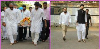 Abhishek Bachchan and Shah Rukh Khan console Nikhil Dwivedi at his father's funeral