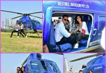 Tiger Shroff and Disha Patani arrive on a chopper to launch Baaghi 2 trailer