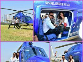 Tiger Shroff and Disha Patani arrive on a chopper to launch Baaghi 2 trailer