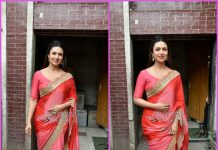 Divyanka Tripathi looks gorgeous in pink chiffon sari