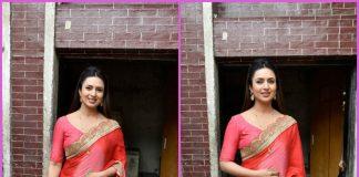 Divyanka Tripathi looks gorgeous in pink chiffon sari