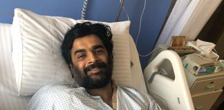 R Madhavan recovering post shoulder surgery