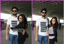Riya Sen and husband Shivam Tewari hug and pose for cameras at airport