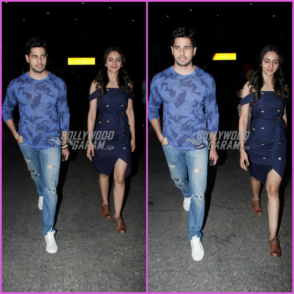 Sidharth Malhotra and Rakul Preet Singh return from Bengaluru promotions of Aiyaary