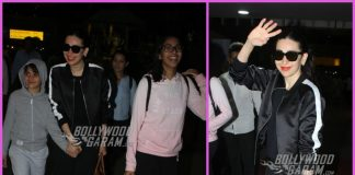 Karisma Kapoor and children Samiera and Kiaan return from a short vacation